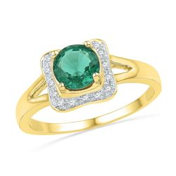 10kt Yellow Gold Round Lab-Created Emerald Solitaire Diamond Ring 7/8 Cttw