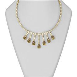 33.67 ctw Canary Citrine & Diamond Necklace 18K Yellow Gold