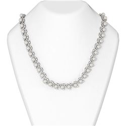 15.2 ctw Diamond and Pearl Necklace 18K White Gold