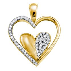 10kt Yellow Gold Round Diamond Double Cradled Heart Pendant 1/5 Cttw