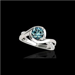 1.15 ctw SI Certified Fancy Blue Diamond Solitaire Ring 10K White Gold