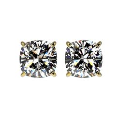 2 ctw Certified VS/SI Quality Cushion Diamond Stud Earrings 10K Yellow Gold