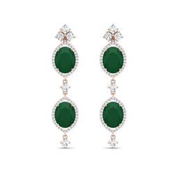 15.81 ctw Emerald & VS Diamond Earrings 18K Rose Gold