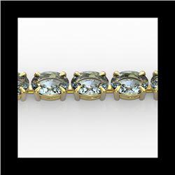 20 ctw Aquamarine Eternity Designer Bracelet 14K Yellow Gold
