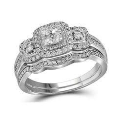 14kt White Gold Round Diamond Bridal Wedding Engagement Ring Band Set 1/2 Cttw