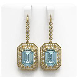 24.81 ctw Sky Topaz & Diamond Victorian Earrings 14K Yellow Gold