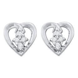 10kt White Gold Round Diamond Heart Cluster Stud Earrings 1/12 Cttw