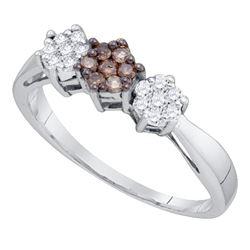 10kt White Gold Round Brown Diamond Cluster Ring 1/4 Cttw