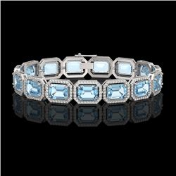 35.61 ctw Sky Topaz & Diamond Micro Pave Halo Bracelet 10K White Gold