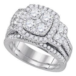 14kt White Gold Round Diamond Cluster Bridal Wedding Engagement Ring Band Set 2.00 Cttw
