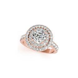 3 ctw Certified VS/SI Diamond Halo Ring 18K Rose Gold