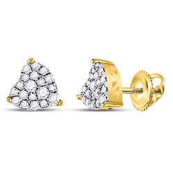 10kt Yellow Gold Round Diamond Heart Cluster Earrings 1/4 Cttw