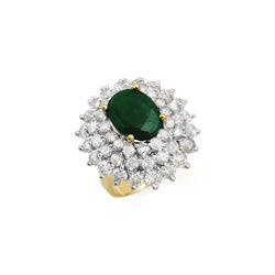 10.02 ctw Emerald & Diamond Ring 14K Yellow Gold