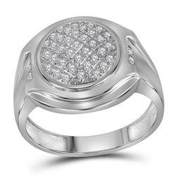10kt White Gold Mens Round Diamond Circle Cluster Fashion Ring 1/3 Cttw