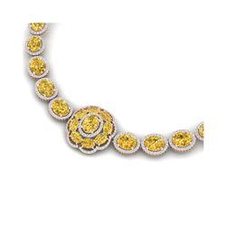 51.37 ctw Canary Citrine & VS Diamond Necklace 18K Rose Gold