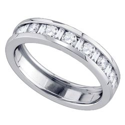 14kt White Gold Alternating Round Baguette Diamond Single Row Wedding Band 1.00 Cttw
