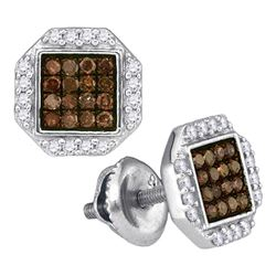 10kt White Gold Round Brown Diamond Octagon Cluster Earrings 3/8 Cttw