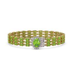 26.1 ctw Peridot & Diamond Bracelet 14K Yellow Gold