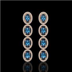 6.28 ctw London Topaz & Diamond Micro Pave Halo Earrings 10K Rose Gold