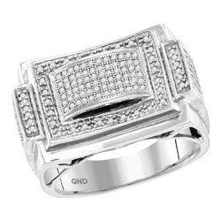 10kt White Gold Mens Round Diamond Domed Rectangle Frame Cluster Ring 1/2 Cttw