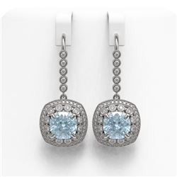 10.5 ctw Aquamarine & Diamond Victorian Earrings 14K White Gold