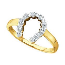 14k Yellow Gold Diamond-accent Small Horse shoe Lucky Ring 1/20 Cttw