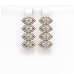 5.92 ctw Marquise Cut Diamond Micro Pave Earrings 18K Rose Gold