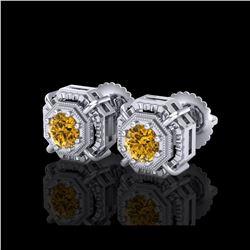 1.11 ctw Intense Fancy Yellow Diamond Art Deco Earrings 18K White Gold