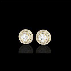 2 ctw Micro Pave VS/SI Diamond Certified Stud Earrings 18K Yellow Gold