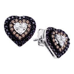 14kt White Gold Round Brown Black Color Enhanced Diamond Heart Cluster Earrings 1/2 Cttw