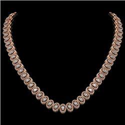 24.19 ctw Oval Cut Diamond Micro Pave Necklace 18K Rose Gold