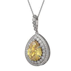 16.96 ctw Canary Citrine & Diamond Victorian Necklace 14K White Gold