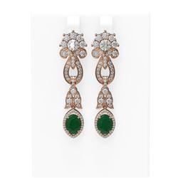 8.66 ctw Emerald & Diamond Earrings 18K Rose Gold