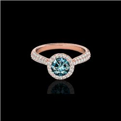 1.40 ctw SI Certified Fancy Blue Diamond Solitaire Halo Ring 10K Rose Gold
