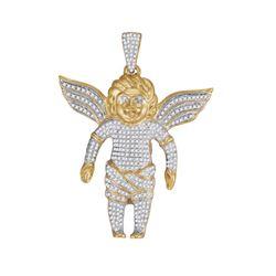 10kt Yellow Gold Mens Round Diamond Guardian Angel Charm Pendant 7/8 Cttw