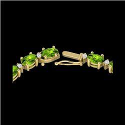46.5 ctw Peridot & VS/SI Diamond Eternity Necklace 10K Yellow Gold