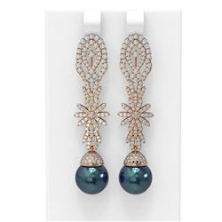 3.61 ctw Diamond and Pearl Earrings 18K Rose Gold
