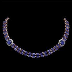 43.97 ctw Sapphire & Diamond Necklace 14K Rose Gold