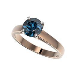 1.50 ctw Certified Intense Blue Diamond Engagement Ring 10K Rose Gold