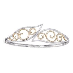 10kt Two-tone Gold Round Diamond Curl Bypass Wisp Bangle Bracelet 1-5/8 Cttw