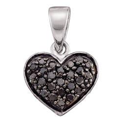 10kt White Gold Round Black Color Enhanced Diamond Heart Pendant 1/4 Cttw