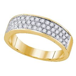 10kt Yellow Gold Round Diamond 3 Row Band Ring 1/2 Cttw