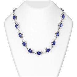 77.5 ctw Sapphire & Diamond Necklace 18K White Gold
