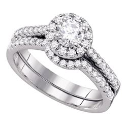 14kt White Gold Round Diamond Halo Bridal Wedding Engagement Ring Band Set 1/2 Cttw