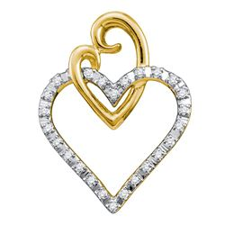 10kt Yellow Gold Round Diamond Double Joined Heart Pendant 1/12 Cttw
