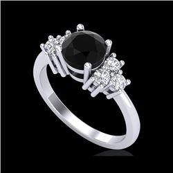 1.5 ctw Fancy Black Diamond Engagement Ring 18K White Gold