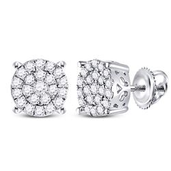 10kt White Gold Round Diamond Concentric Circle Cluster Earrings 1/2 Cttw