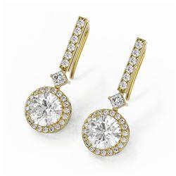 4.25 ctw Diamond Designer Earrings 18K Yellow Gold