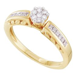 14kt Yellow Gold Round Diamond Flower Cluster Ring 1/4 Cttw