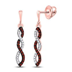 10kt Rose Gold Round Red Color Enhanced Diamond Infinity Screwback Earrings 1/6 Cttw